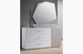 Florence White & Light Grey Lacquer Dresser & Mirror
