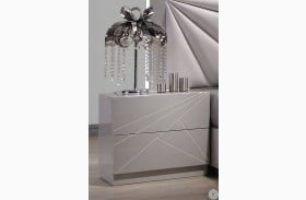 Florence White & Light Grey Lacquer Nightstand