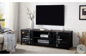 Decargi Black And Distressed Dark Oak TV Stand