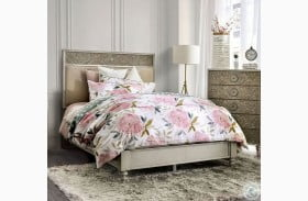 Jakarta Antique White And Beige Upholstered Panel Bed