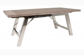 Grayson Gray Wash Rectangular Extendable Trestle Dining Table