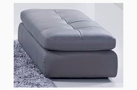 397 Grey Italian Leather Ottoman