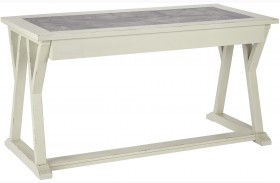 Jonileene White and Gray Finish Large Leg Desk