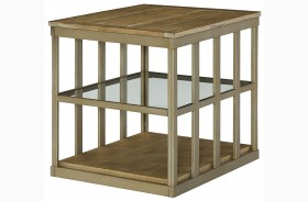 Modern Theory Aged Natural Rectangular End Table