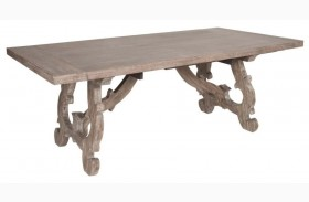Haute Gray Wash Rectangular Extendable Trestle Dining Table
