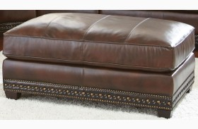 Henry Antique Tobacco Leather Ottoman