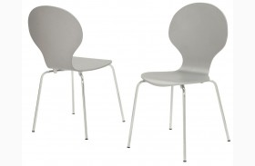 1047 Grey Bentwood / Chrome Metal Dining Chairs Set of 4