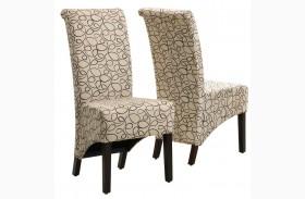 1789TN Tan Swirl Fabric Side Chair Set of 2