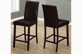 Brown Leather Counter Height Dining Chair Set of 2