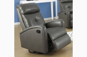 8088GY Charcoal Gray Bonded Leather Swivel Glider Recliner