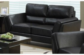 Black Bonded Leather Match Loveseat