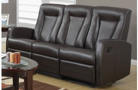 82BR-3 Brown Bonded Leather Reclining Sofa