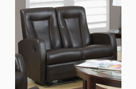 82BR-2 Brown Bonded Leather Reclining Loveseat