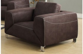 Chocolate Brown/Tan Contrast Micro-Suede Chair