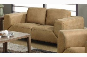 Tan/Chocolate Brown Contrast Micro-Suede Loveseat