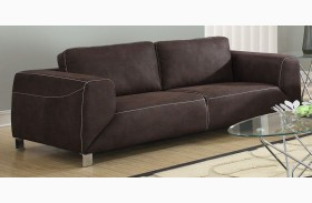 Chocolate Brown - Tan Contrast Micro-Suede Sofa