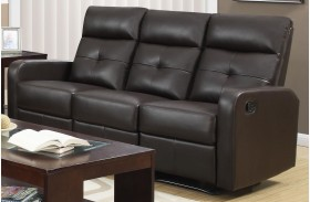 85BR-3 Brown Bonded Leather Reclining Sofa