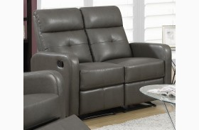 85GY-2 Charcoal Gray Bonded Leather Reclining Loveseat