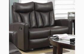 87BR-2 Brown Bonded Leather Reclining Loveseat