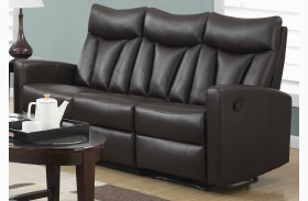 87BR-3 Brown Bonded Leather Reclining Sofa