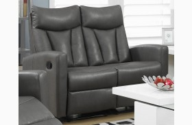87GY-2 Charcoal Gray Bonded Leather Reclining Loveseat