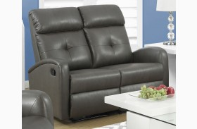 88GY-2 Charcoal Gray Bonded Leather Reclining Loveseat
