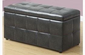 Charcoal Gray Leather Storage Ottoman