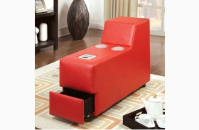 Floria Red Bonded Leather Match Bluetooth Speaker Console