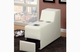 Floria White Bonded Leather Match Bluetooth Speaker Console