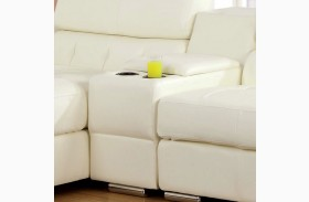 Floria White Bonded Leather Match Storage Console