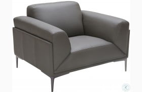 King Gray Leather Chair