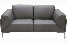 King Gray Leather Loveseat