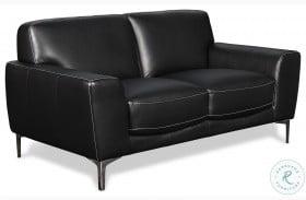 Carrara Black Leather Loveseat