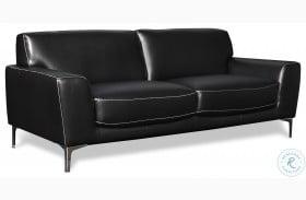 Carrara Black Leather Sofa