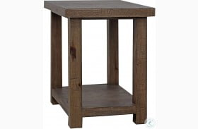 Lapaz Rustic Worn Pine Chairside End Table