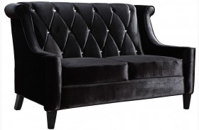 Barrister Black Velvet Loveseat