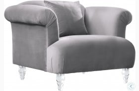 Elegance Grey Velvet Sofa Chair