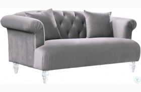 Elegance Grey Velvet Loveseat