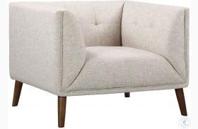 Hudson Mid-Century Beige Linen Button Tufted Chair