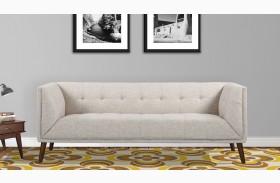 Hudson Mid-Century Beige Linen Button Tufted Sofa
