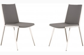 Ibiza Gray Brushed Stainless Steel Dining Chair Set of 2