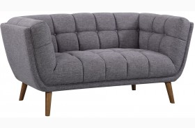 Phantom Mid-Century Dark Gray Linen Modern Loveseat