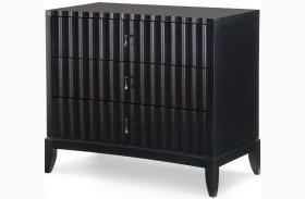 Symphony Platinum & Black Tie 3 Drawers Bedside Chest