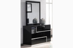 Lucca Black Lacquer Dresser and Mirror