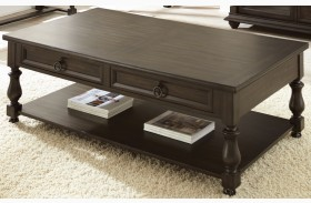 Leona Charcoal Cocktail Table with Casters
