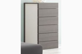Maia Light Grey Lacquer 6 Drawer Chest