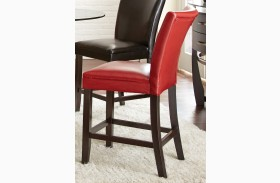 Matinee Red Bonded Leather Counter Chair Set of 2