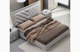 New York Gray Upholstered Platform Bed