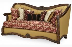 Oppulente Sienna Spice Wood Trim Channel Back Sofa