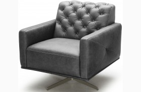 Othello Black Italian Leather Swivel Chair
